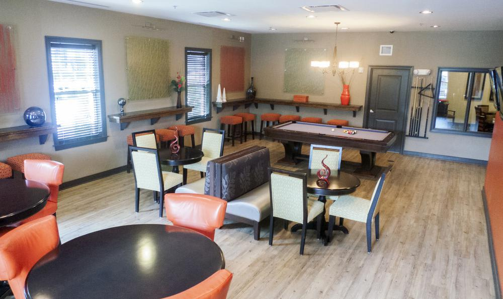 clubhouse dining hall at The Flats at West Broad Village in Glen Allen, VA