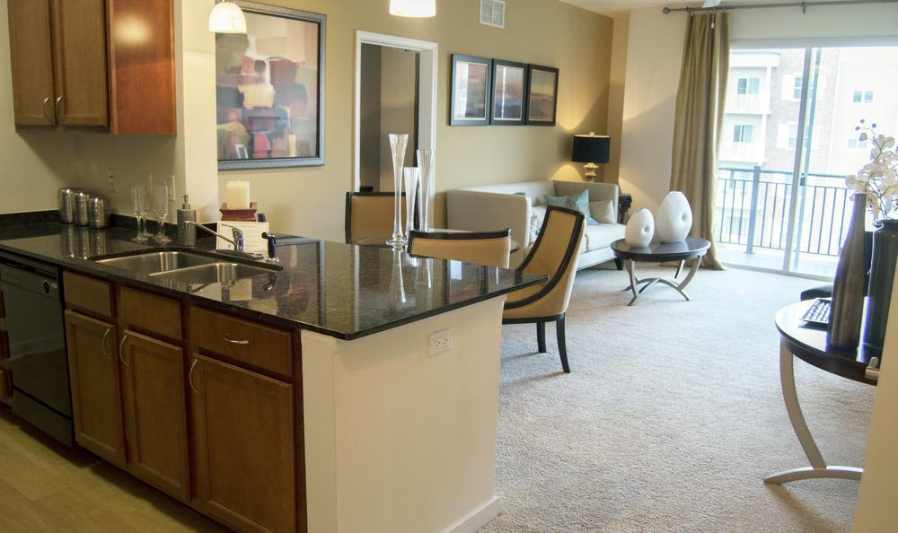 kitchen living room combo at The Flats at West Broad Village in Glen Allen, VA