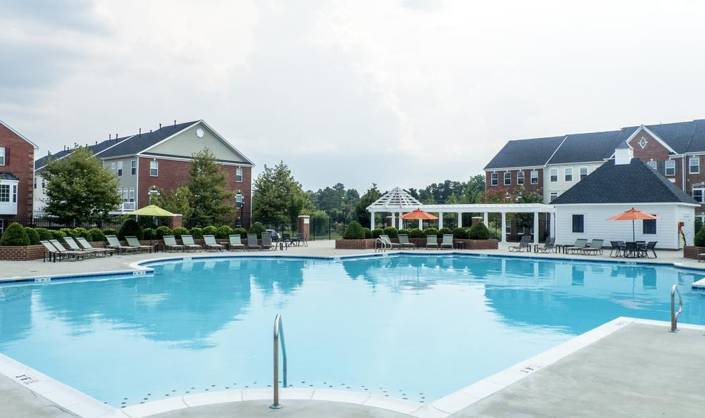 swimming pool at The Flats at West Broad Village in Glen Allen, VA