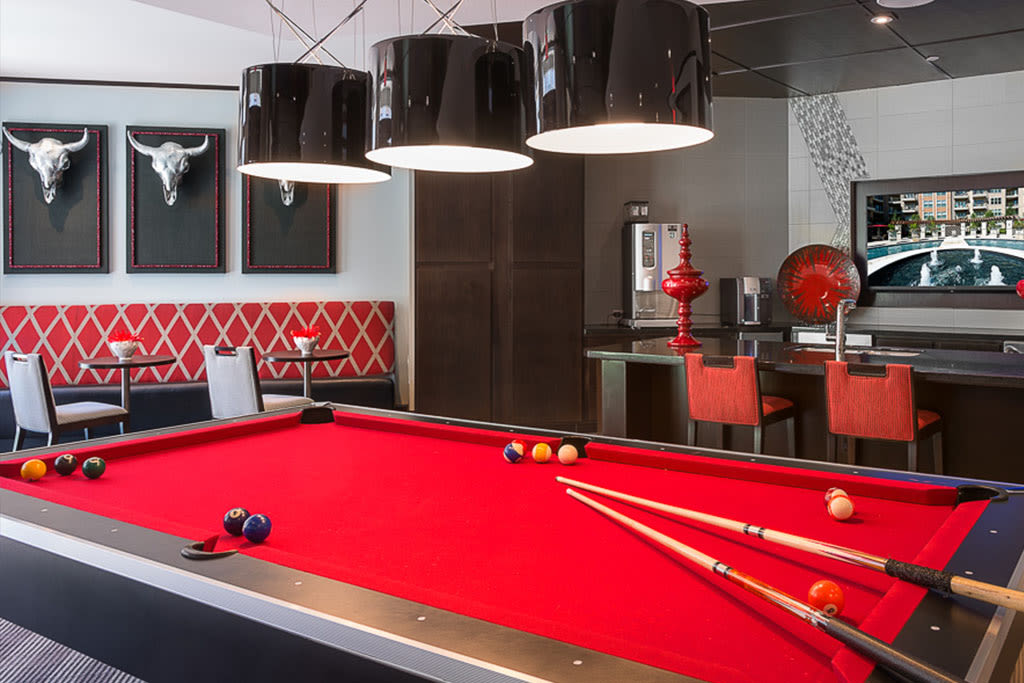 Billiards table in the clubhouse at Addison Keller Springs