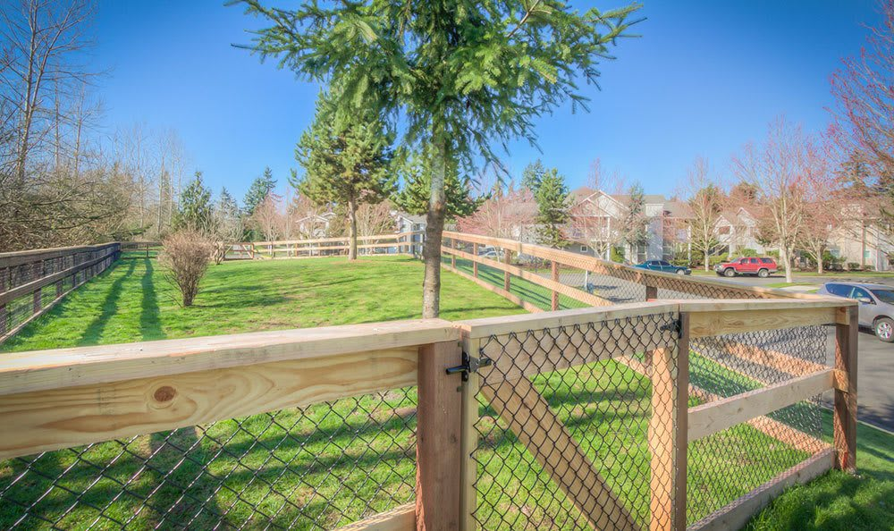 On-site bark park at Bradley Park Apartments in Puyallup, Washington