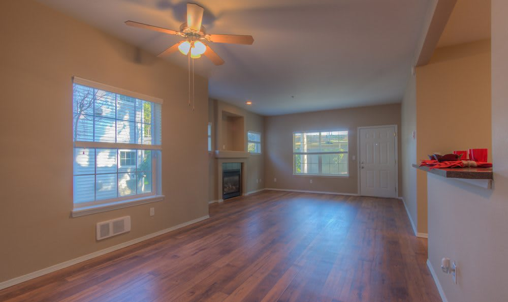 Hardwood floors in model apartment home at Bradley Park Apartments in Puyallup