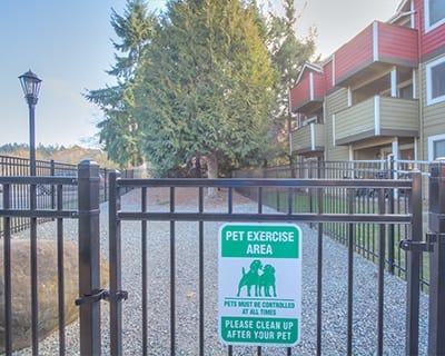 On-site bark park at Chestnut Hills Apartments in Puyallup
