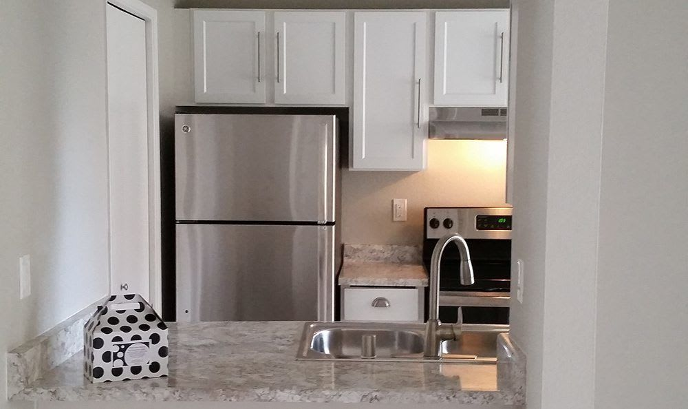 Newly remodeled kitchen at Chestnut Hills Apartments in Puyallup, Washington