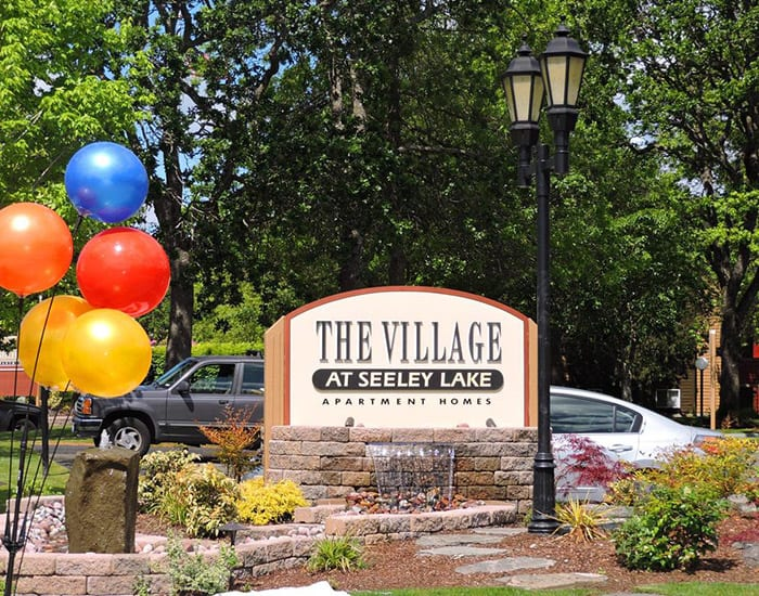 Our community's sign at Village at Seeley Lake
