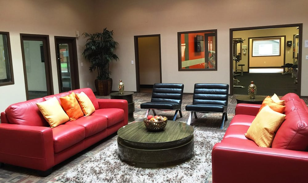 Contemporary furniture and decor in the Village at Seeley Lake clubhouse