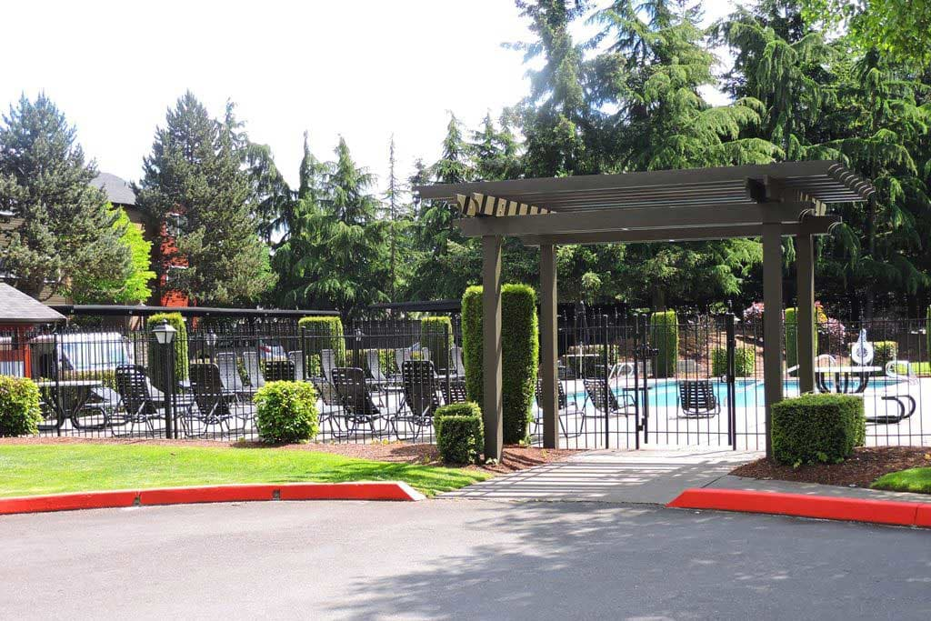 Entrance to the pool area at Village at Seeley Lake