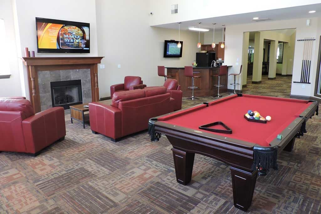 Billiards table in the clubhouse at Village at Seeley Lake in Lakewood