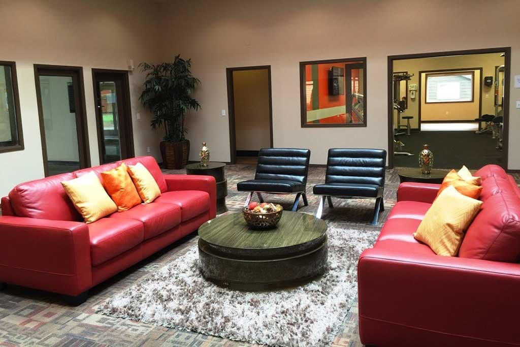 Plenty of comfortable seating in the clubhouse at Village at Seeley Lake in Lakewood