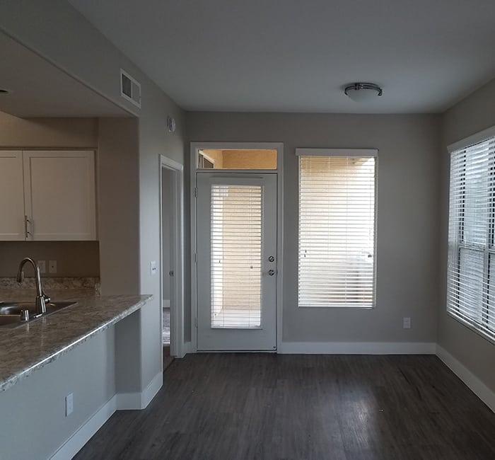 Hardwood floors and breakfast bar at The Retreat Apartments