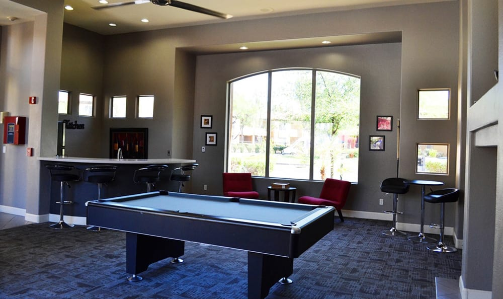 Billiards table in the clubhouse at The Retreat Apartments in Phoenix