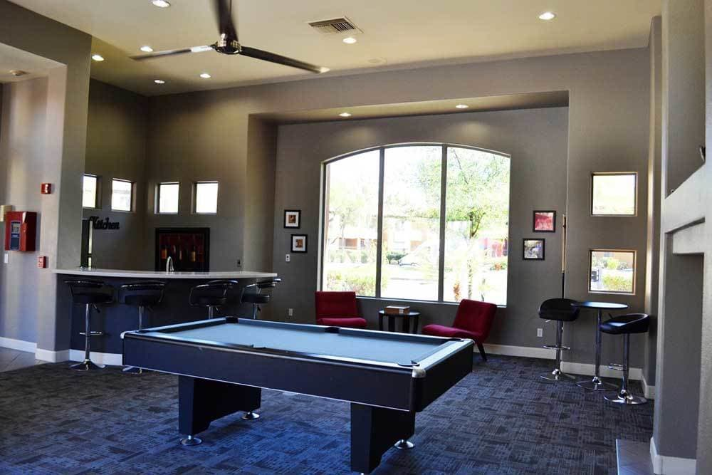Billiards table in the clubhouse at The Retreat Apartments