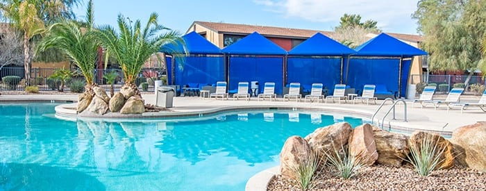 Lavish swimming pool area at Aventerra at Dobson Ranch in Mesa