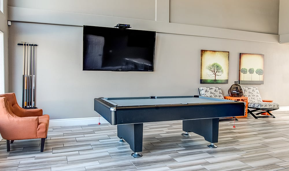 Billiards table in the clubhouse at Aventerra at Dobson Ranch in Mesa