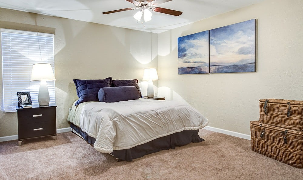 Large master bedroom, showcasing spacious floor plan, at Aventerra at Dobson Ranch in Mesa, AZ