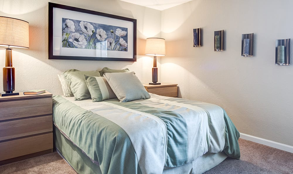 Well-decorated bedroom in model apartment home at Aventerra at Dobson Ranch in Mesa, AZ