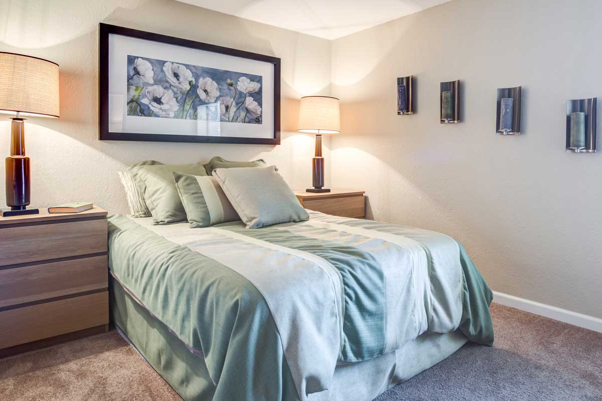 Beautifully decorated bedroom at Aventerra at Dobson Ranch in Mesa