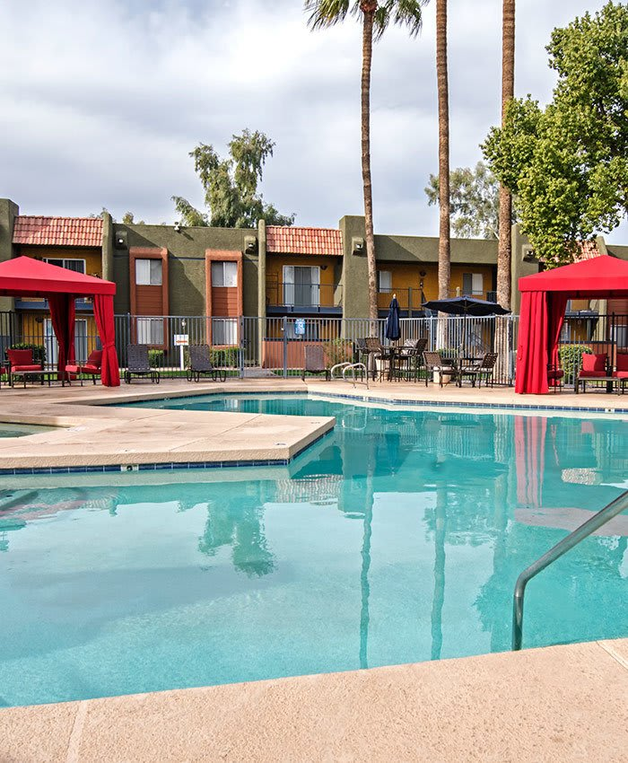 Beautiful view of the swimming pool at Villetta Apartments in Mesa, Arizona