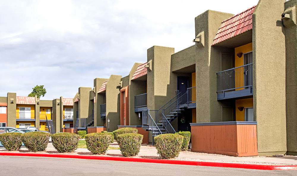Exterior of resident building at Villetta Apartments in Mesa