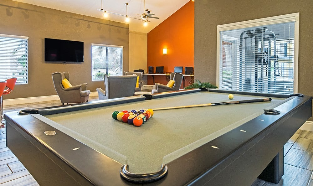 Billiards table in the Villetta Apartments clubhouse in Mesa