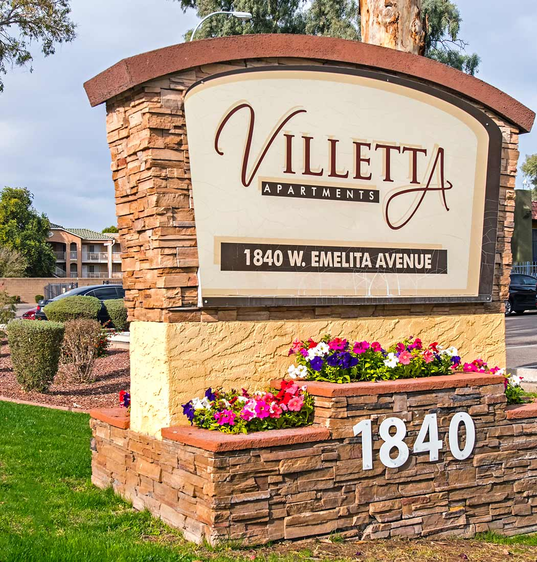 Our sign welcomes residents and guests at Villetta Apartments in Mesa, Arizona