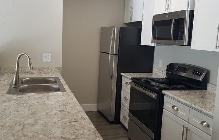 Upgraded kitchen at Presidio at Rancho Del Oro in Oceanside, California