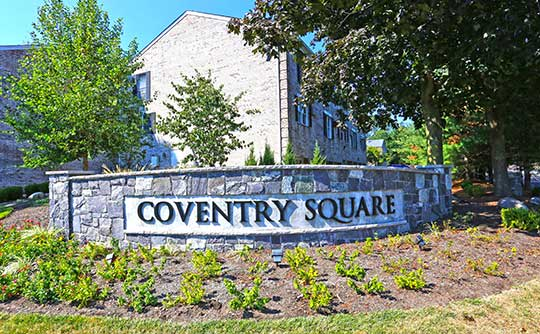 The handsome sign to Coventry Square Apartments