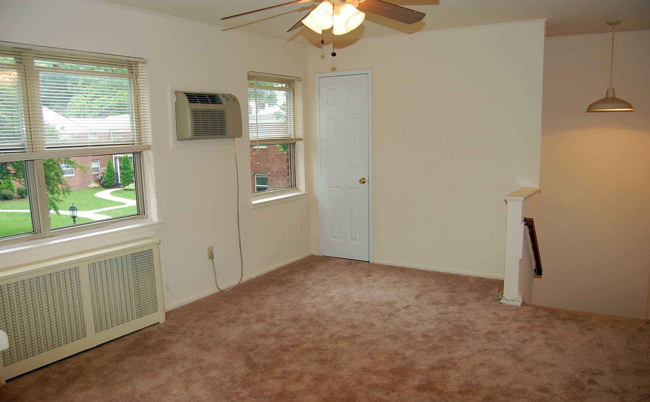 A living room layout at Lakeview Apartments
