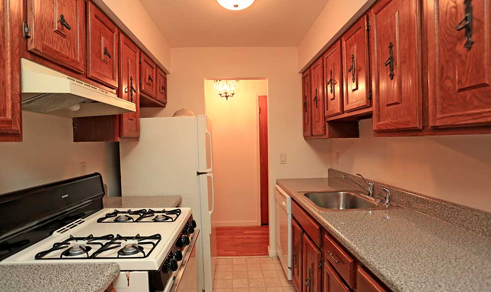 An example of a kitchen layout at The Madison Apartments