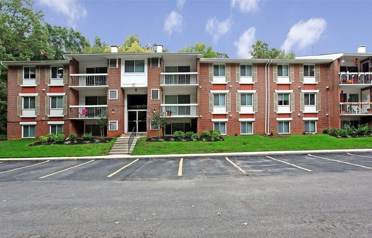 Front view of apartment building at Carroll Park