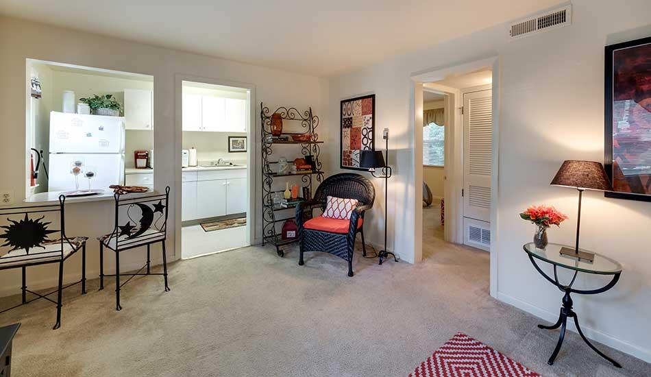 Open living room at Arbor Oaks Apartments