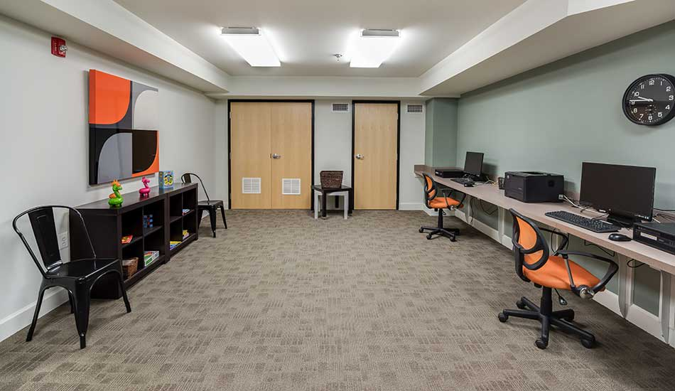 Community computer room at Columbus School Apartments