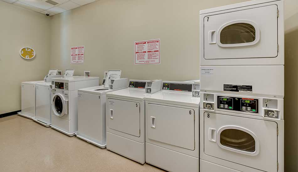 Laundry room at Columbus School Apartments