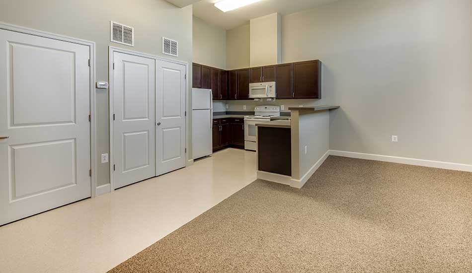 Open floor plans at Columbus School Apartments