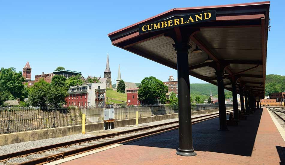 Railway station near Cumberland Arms Apartments