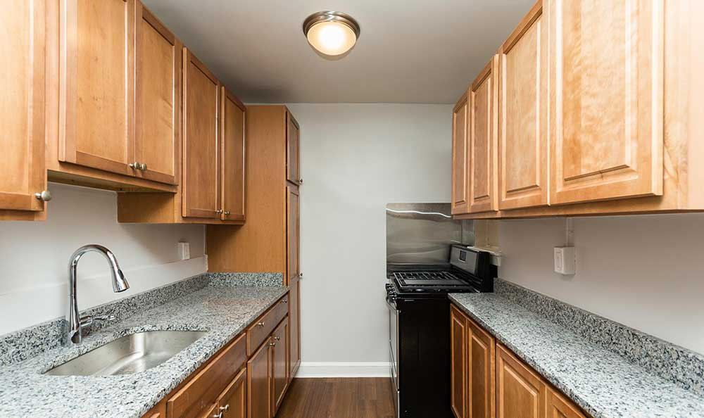 Galley kitchen at Brightwood Communities
