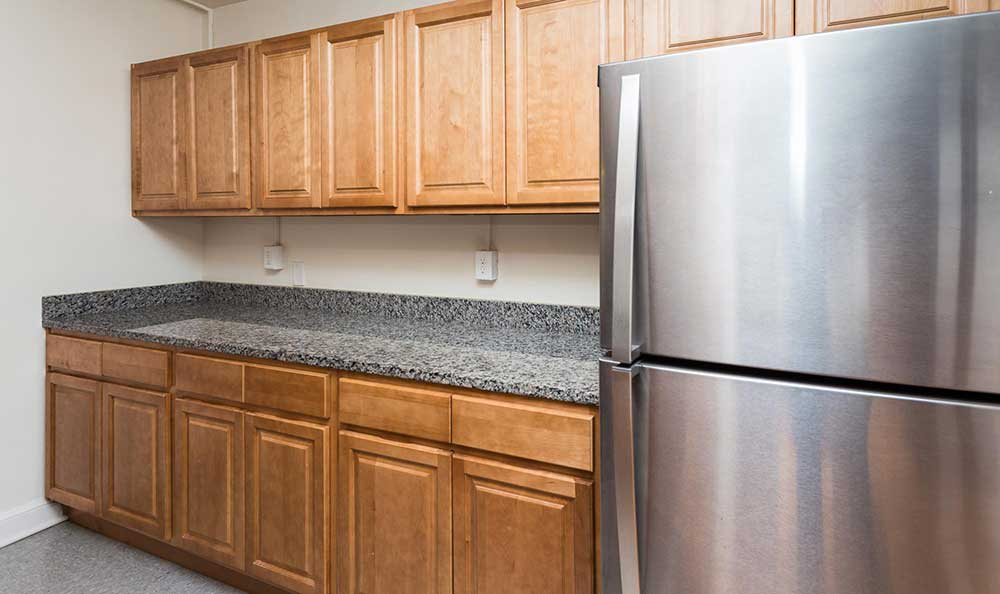 Stainless-steel fridge offered at Brightwood Communities