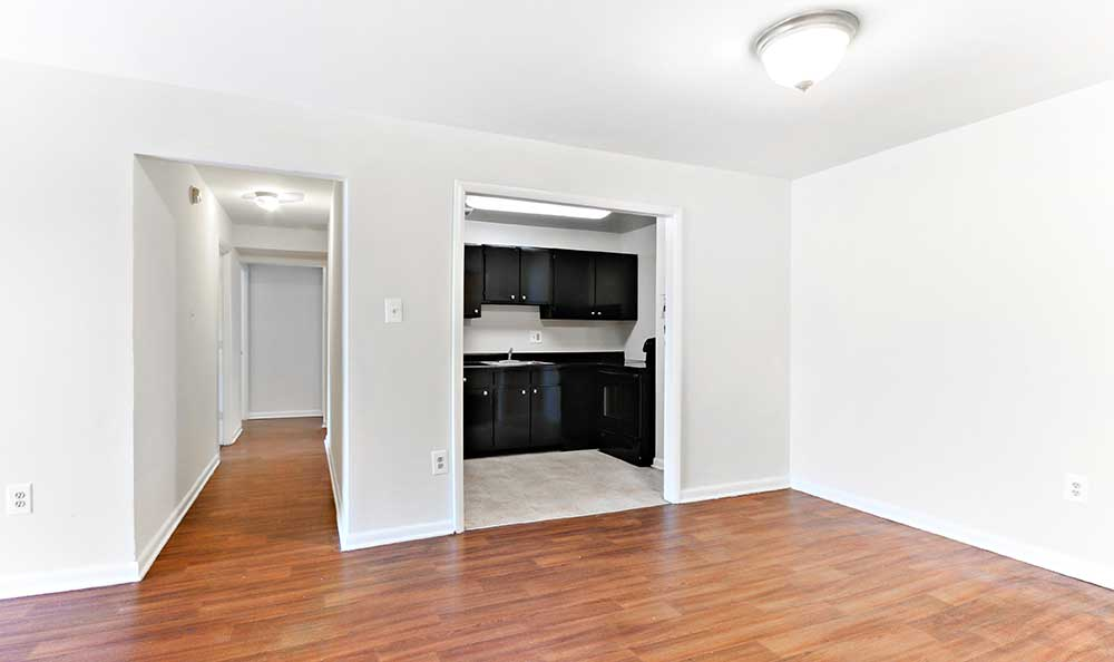 Hardwood floors in our Washington apartment living rooms