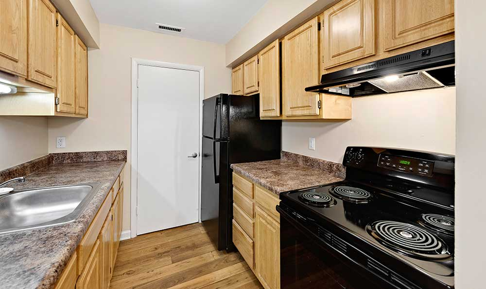 Black appliances at EastView Communities