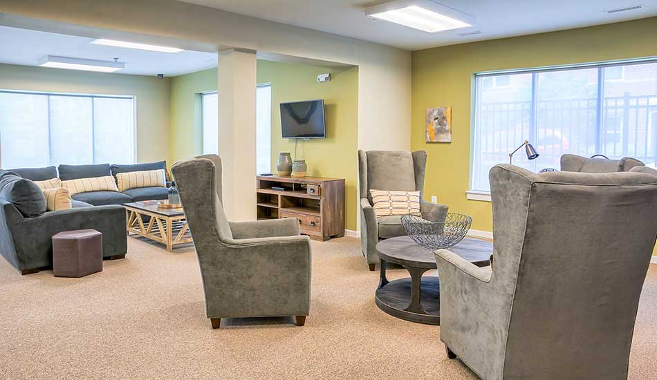 Community TV room at Fulton Gethsemane Village