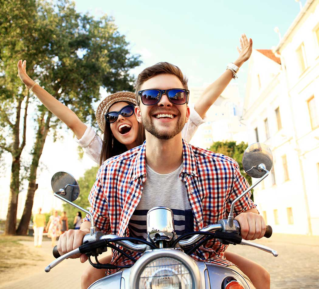 Couple on bike near The Larkspur