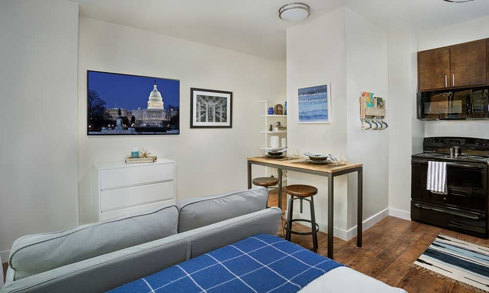 Studio apartment layout at The Grove at Parkside