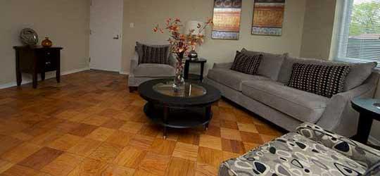 Stony Brook Apartments open concept living room