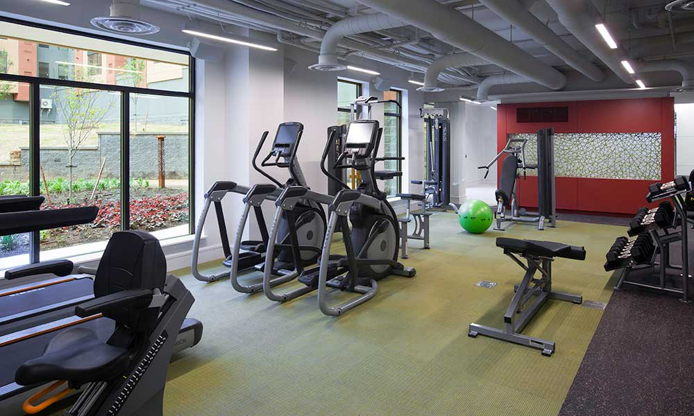 Fully equipped fitness center at Park 7 Apartments