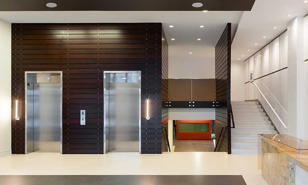 Lobby elevators at Park 7 Apartments in Washington