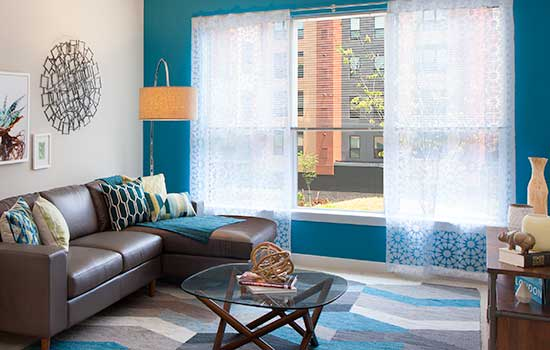 Sunlit living room at Park 7 Apartments