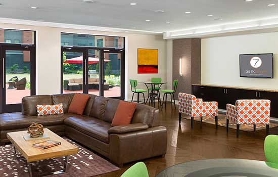 Resident lounge at Park 7 Apartments