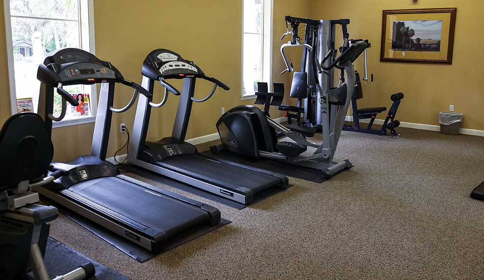 Fitness center at The Oaks at Riverview