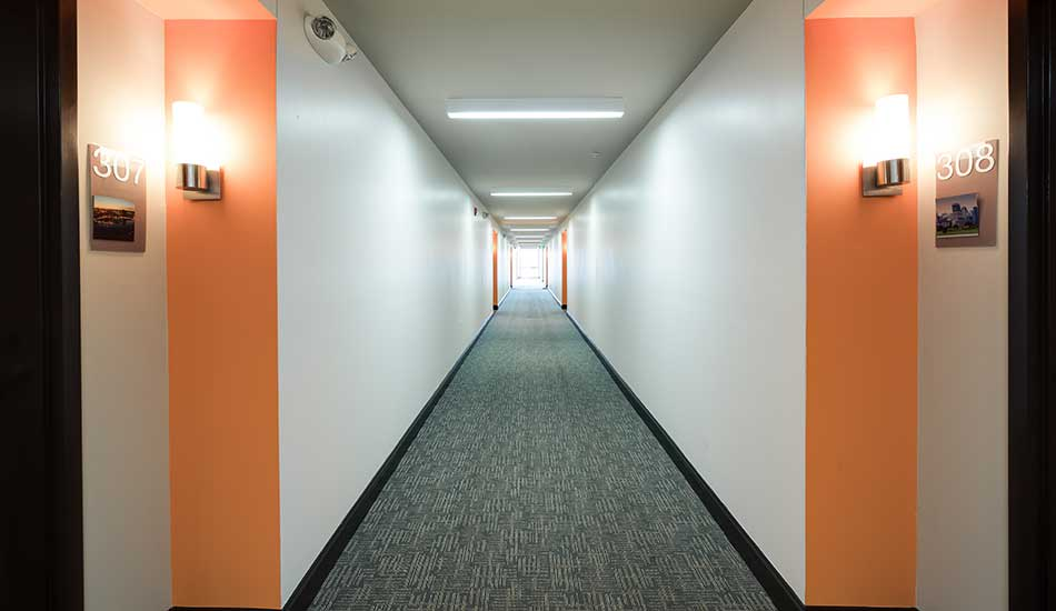Interior hallway of North Avenue Gateway