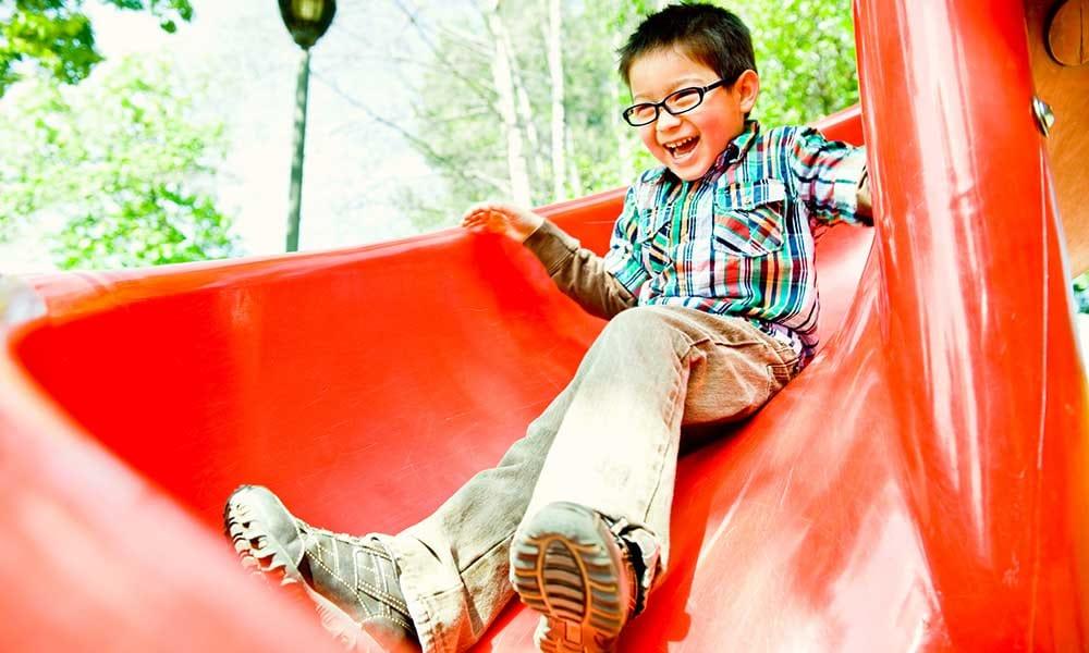 Kid on the Meadowbrook Run playground